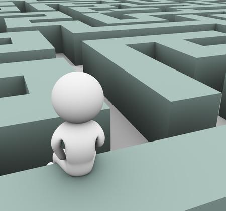 confused person: Hombre 3d encontrar camino a trav�s del laberinto