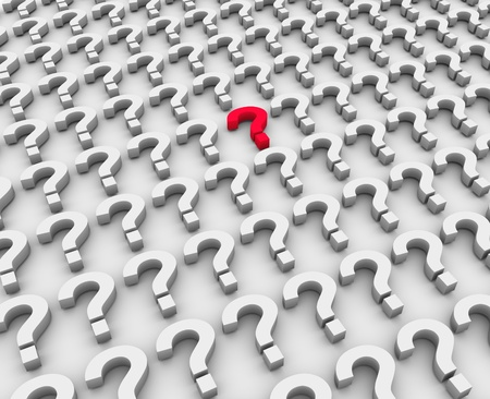 3d render of unique red question marks Stock Photo - 10552604