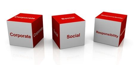 responsabilidad: cubos de texto 3D de la palabra de moda RSC-