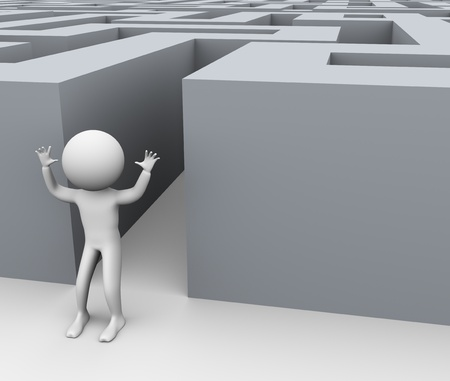 finding: 3d man successfully pass through complicated maze. Concept of successful problem solution