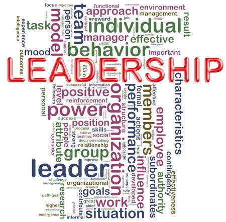 leiderschap: Illustratie van woorden in een wordcloud van