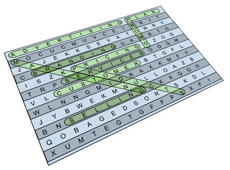 Illustration of wordsearch crossword related to word  illustration