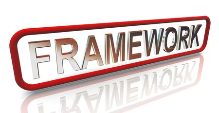 3d render pf buzzword text 'framework' Stock Photo - 10677022