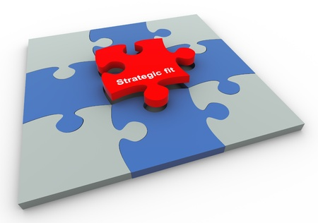 build buzz: 3d completed puzzle with final puzzle peace of text strategic fit Stock Photo