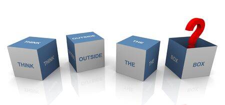 outside box: 3d text cube of buzzword  Stock Photo