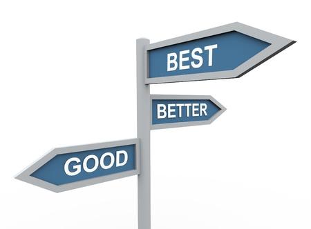 decis�es: 3d road sign of text good, best and better Banco de Imagens