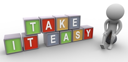 take it easy: 3d stress man and colorful text box