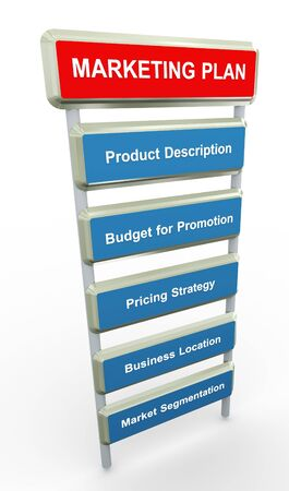 3d render of marketing plan process photo