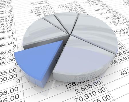 hoja de calculo: Gráfico de sectores en 3D reflectante en el fondo de la hoja financiera Foto de archivo
