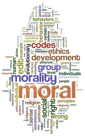 moral: Illustration of Wordcloud related to word