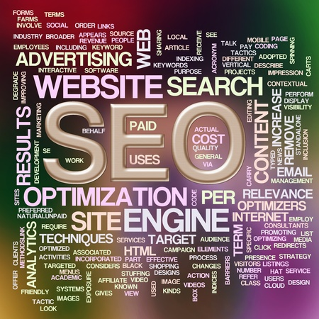 Illustration of wordcloud of seo- search engine optimization illustration