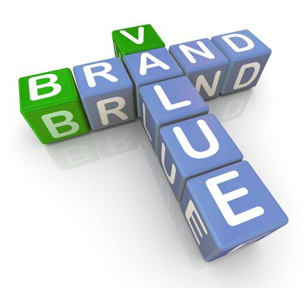 3d render of buzzword crossword brand and value Stock Photo - 10677001