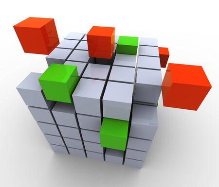 3d struttura astratta cubi, il concetto di lavoro di gruppo, costruzione, creazione, ecc