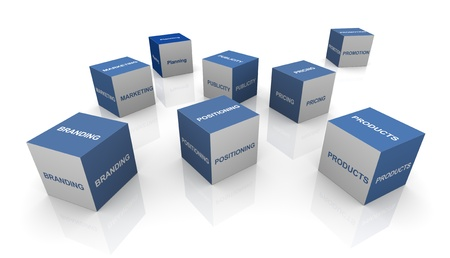 identity management: 3d cubes of words related to branding