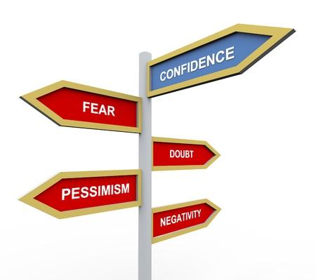 """overcoming: Señal de tráfico en 3D de texto de """"confianza"""" con otras palabras el pensamiento negativo."""