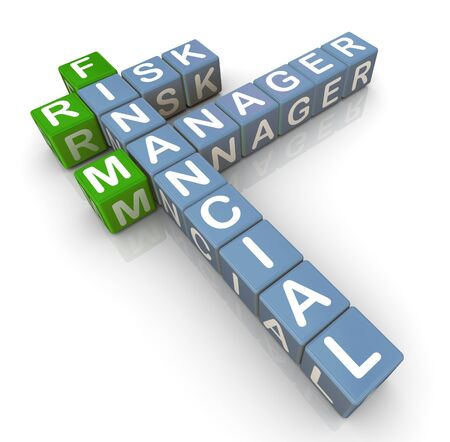 financial management: 3d render of crossword from - financial risk manager Stock Photo