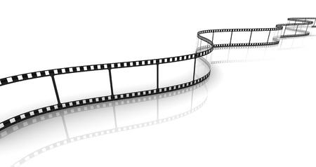 rollo fotogr�fico: 3D tira de pel�cula transparente sobre fondo blanco