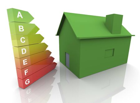 3d render of energy efficiency rating and green house photo