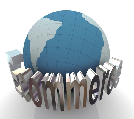 3d render of globe and text ecommerce. Concept of online business photo
