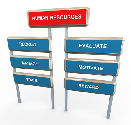 human resource management: 3d render of words about human resources Stock Photo
