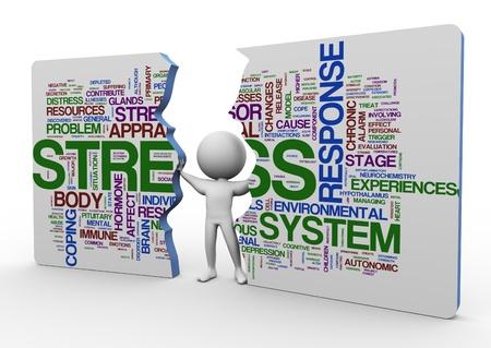 gesundheitsmanagement: 3d man schieben gebrochen Rechteck von Stress wordcloud