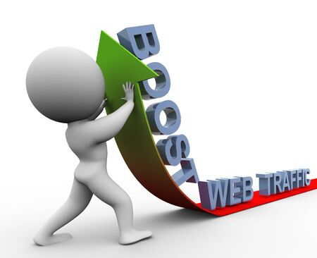 3d man pushing arrow up. Concept of boosting web traffic photo