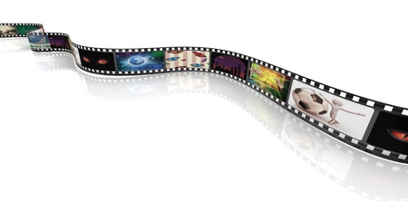 video film: 3d render of film strip with images
