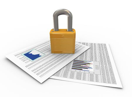 data protection: 3d render of padlock on financial papers. Concept of protection of important data, documents, files,folders etc.