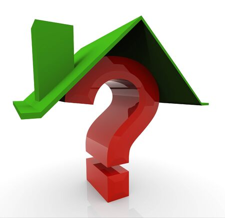 safe house: 3d render of house and question mark Stock Photo