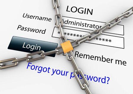 https: 3d render of online security concept