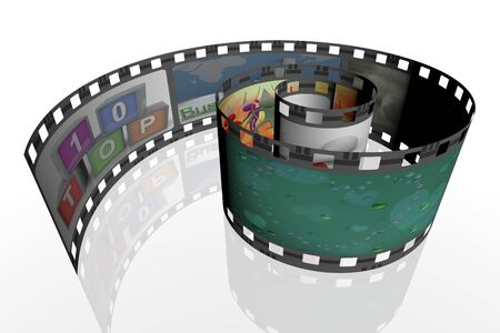 3d render of spiral film strip with images. Stock Photo - 10743772