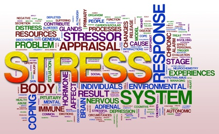 circumstances: Illustration of word cloud related to stress.