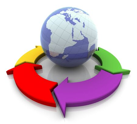 global direction: 3d circular flowchart diagram and globe. Concept of global business