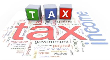 """ingresos: """"Impuesto"""" texto 3d palabra de moda de colores en el fondo del impuesto sobre la renta wordcloud."""