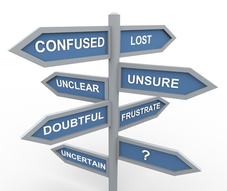3d road sign of various words related to confusion during making decision  Stock Photo