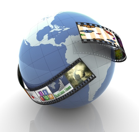 video reel: 3d render of film strip with images around globe. Stock Photo