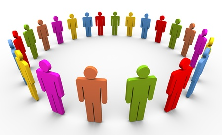 gente comunicandose: 3D personas coloridas formando un c�rculo. Concepto de redes sociales. Foto de archivo