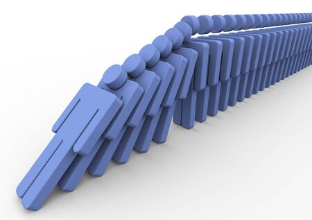 domino effect: 3d render of human domino. Concept of What happen when one fall in the queue.