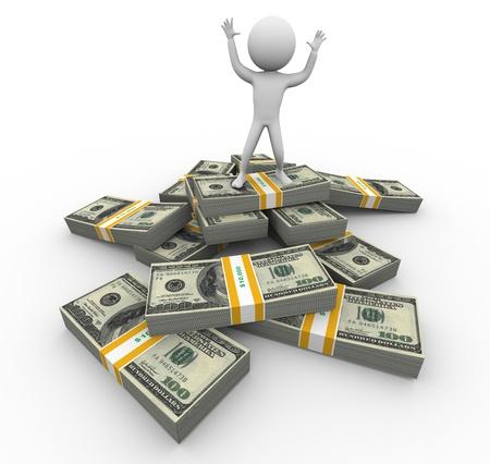 rich man: Hombre rico 3d de pie en la parte superior de los paquetes de d�lares
