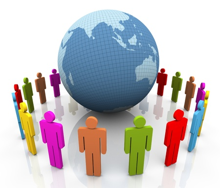 3d colorful people around the globe. Concept of global communication Stock Photo - 10858375