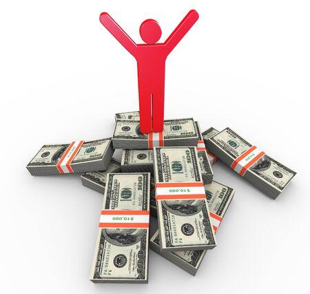 winning stock: 3d rich man standing on top of dollar packs