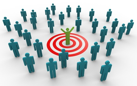 job market: 3d man successfully achieved his target. Concept of goal achievement. Stock Photo