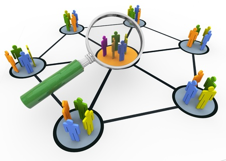 personnel: 3d magnifying glass hovers over group of people. Concept of searching group of people