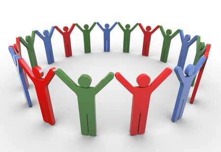 3d colorful people with holding hands in a circle. Concept of social networking. Stock Photo - 10858361