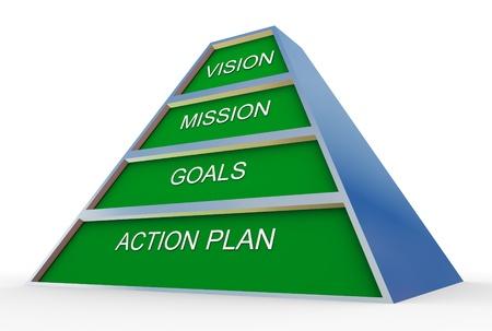 planeaci�n estrategica: 3d de la pir�mide del plan de negocio Foto de archivo