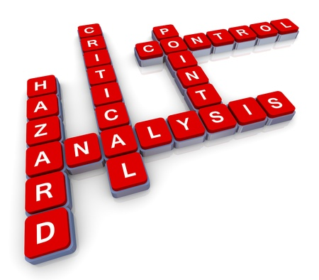 3d render of crossword haccp (hazard, analysis, critical, control, points) photo