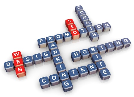 website words: 3d render of crossword - web design and website promotion Stock Photo