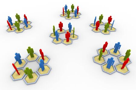 3d group of people. Concept of social network photo