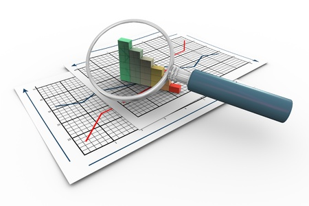 monthly salary: 3d magnifying glass hovers over progress bars on graph paper.