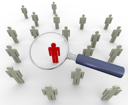 personnel: 3d magnifying glass searching people. Concept of searching people or employee